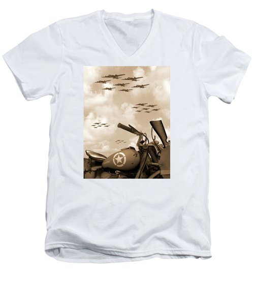 Men's V-Neck T-Shirt featuring the photograph 1942 Indian 841 - B-17 Flying Fortress' by Mike McGlothlen