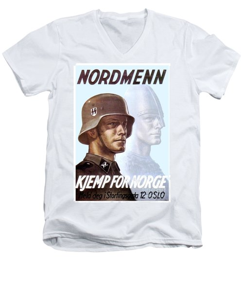 1943 - German Waffen Ss Recruitment Poster - Norway - Color Men's V-Neck T-Shirt