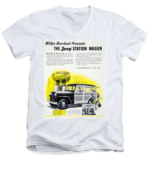 1946 - Willys Overland Jeep Station Wagon Advertisement - Color Men's V-Neck T-Shirt
