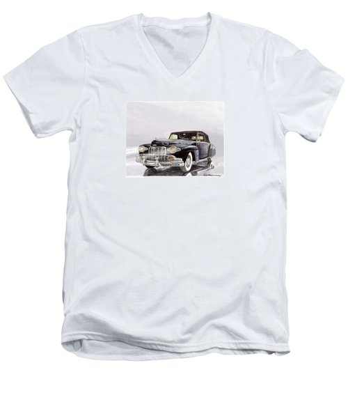 1946 Lincoln Continental Convertible Foggy Reflection Men's V-Neck T-Shirt by Jack Pumphrey
