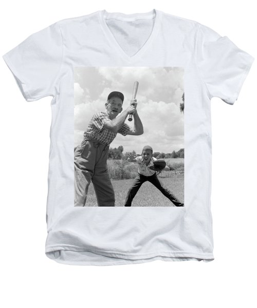1950s Grandfather At Bat With Grandson Men's V-Neck T-Shirt