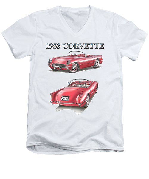 1953 Corvette Men's V-Neck T-Shirt
