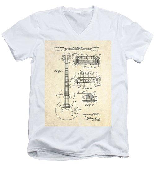 1955 Gibson Les Paul Patent Drawing Men's V-Neck T-Shirt