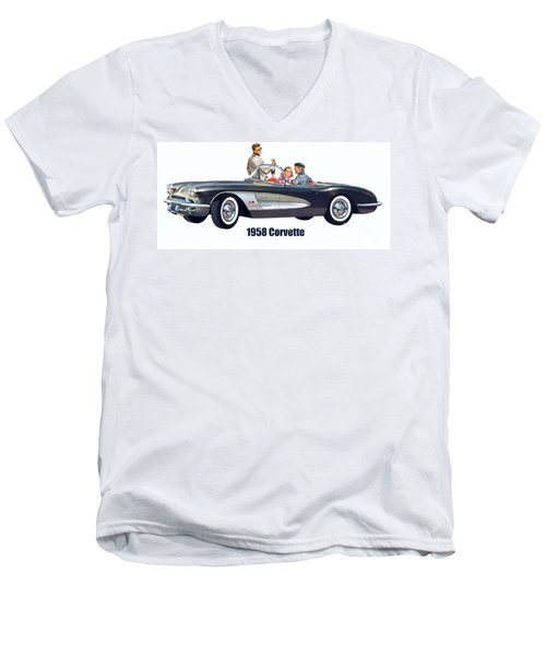 1958 Chevrolet Corvette Men's V-Neck T-Shirt