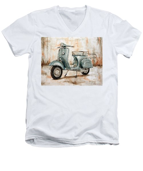 1959 Douglas Vespa Men's V-Neck T-Shirt by Joey Agbayani