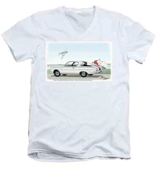 1965 Barracuda  Classic Plymouth Muscle Car Men's V-Neck T-Shirt by John Samsen