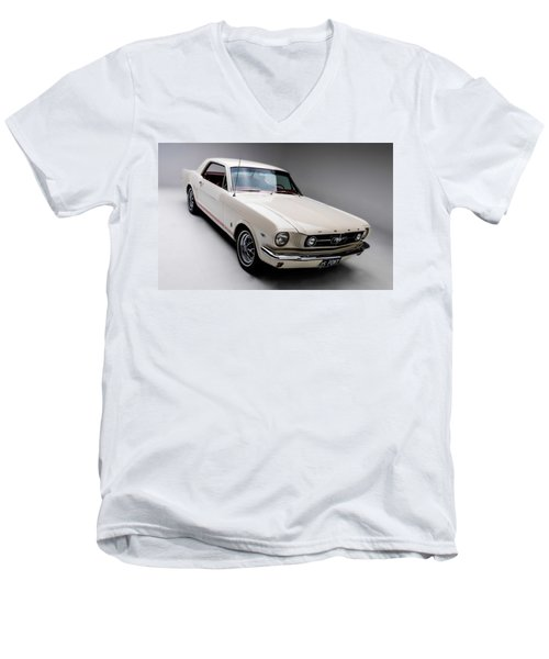Men's V-Neck T-Shirt featuring the photograph 1966 Gt Mustang by Gianfranco Weiss
