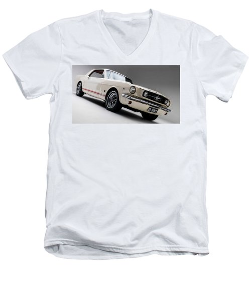 Men's V-Neck T-Shirt featuring the photograph 1966 Mustang Gt by Gianfranco Weiss