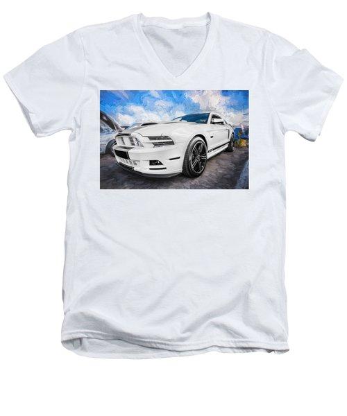 2014 Ford Mustang Gt Cs Painted  Men's V-Neck T-Shirt