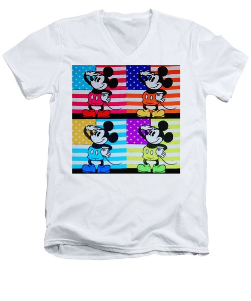 American Mickey Men's V-Neck T-Shirt by Rob Hans