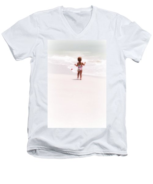 Men's V-Neck T-Shirt featuring the digital art Baby Chases Red Ball by Valerie Reeves
