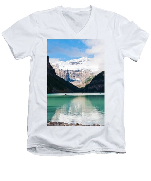 Men's V-Neck T-Shirt featuring the photograph Beautiful Lake Louise by Cheryl Baxter