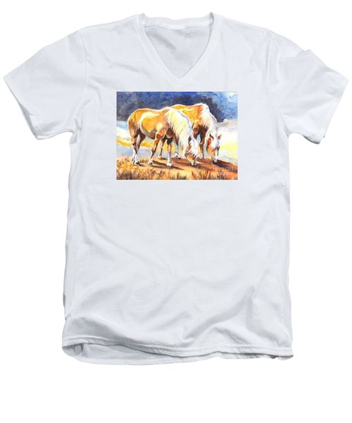 Men's V-Neck T-Shirt featuring the painting Best Pals by Carol Wisniewski