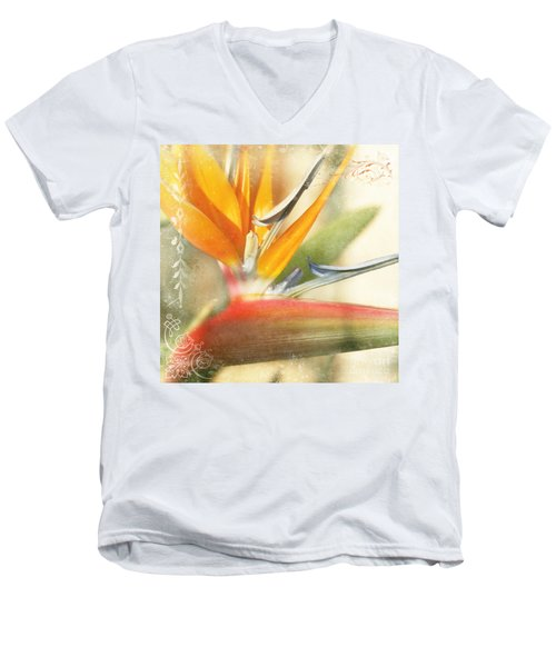 Bird Of Paradise - Strelitzea Reginae - Tropical Flowers Of Hawaii Men's V-Neck T-Shirt by Sharon Mau