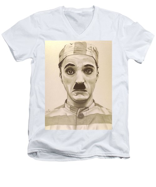 Vintage Charlie Chaplin Men's V-Neck T-Shirt by Fred Larucci