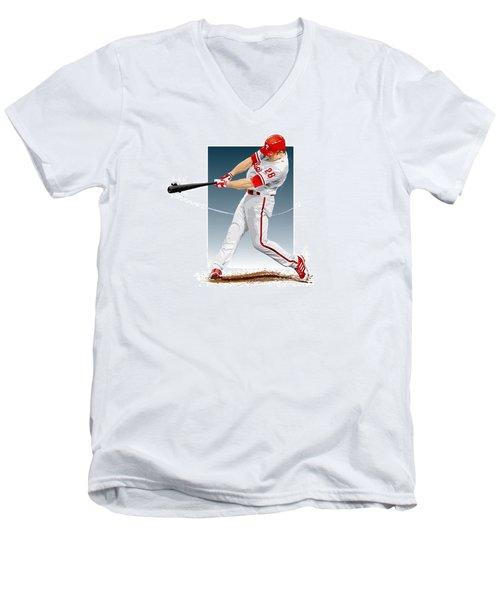 Chase Utley Men's V-Neck T-Shirt by Scott Weigner