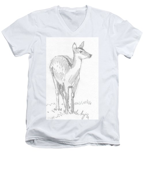 Deer Drawing  Men's V-Neck T-Shirt