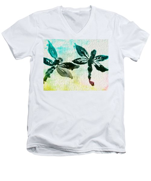 Men's V-Neck T-Shirt featuring the digital art 2 Dragonflies Abstract by Frank Bright