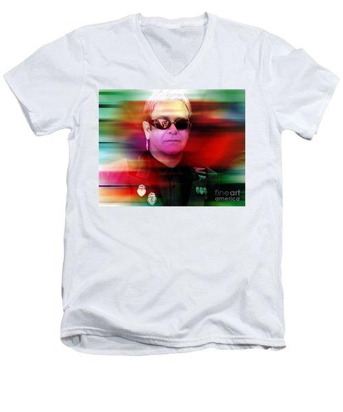 Elton John Men's V-Neck T-Shirt by Marvin Blaine