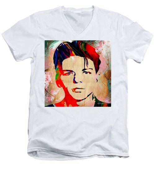Men's V-Neck T-Shirt featuring the mixed media Frank Sinatra Collection by Marvin Blaine