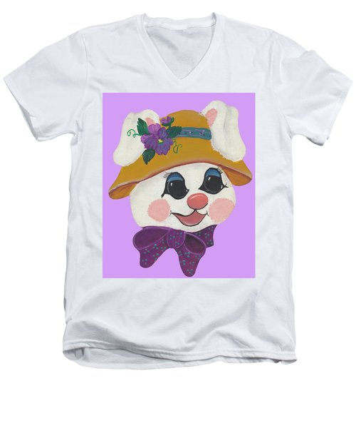 Men's V-Neck T-Shirt featuring the painting Funny Bunny by Barbara McDevitt