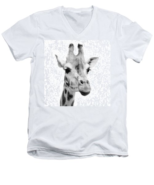 Giraffe On White Background  Men's V-Neck T-Shirt