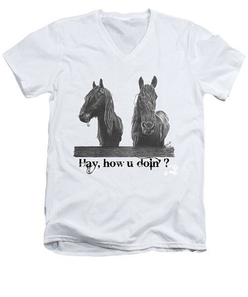 Men's V-Neck T-Shirt featuring the drawing Hay How U Doin by Marianne NANA Betts