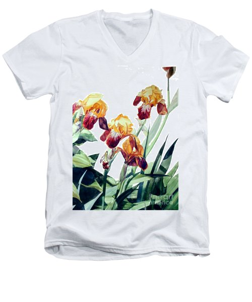 Watercolor Of Tall Bearded Irises I Call Iris La Vergine Degli Angeli Verdi Men's V-Neck T-Shirt