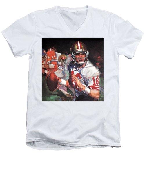 Joe Montana Men's V-Neck T-Shirt by Jay Milo
