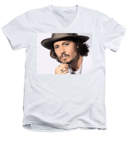 Johnny Depp Men's V-Neck T-Shirt by Karon Melillo DeVega