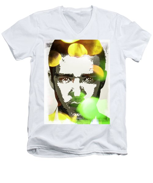 Men's V-Neck T-Shirt featuring the digital art Justin Timberlake by Svelby Art