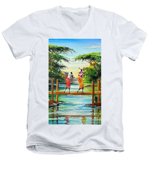 L  115 Men's V-Neck T-Shirt