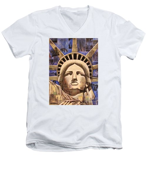 Men's V-Neck T-Shirt featuring the painting Lady Liberty by Joseph Sonday