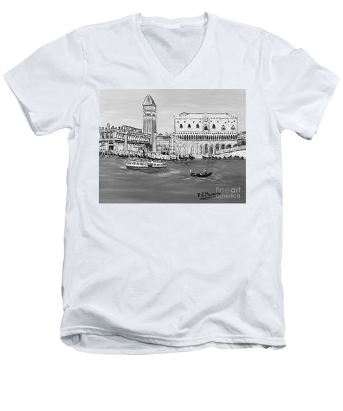 Men's V-Neck T-Shirt featuring the painting Laguna by Loredana Messina