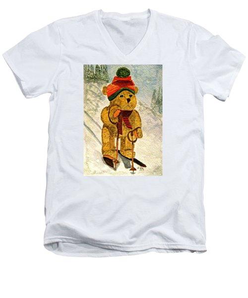 Learning To Ski Men's V-Neck T-Shirt by Angela Davies