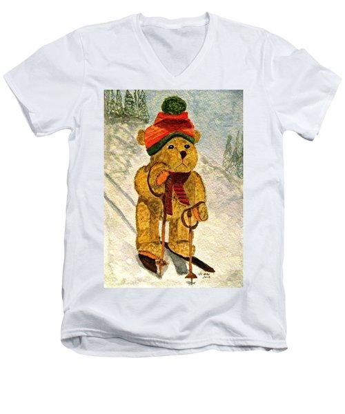 Learning To Ski Men's V-Neck T-Shirt