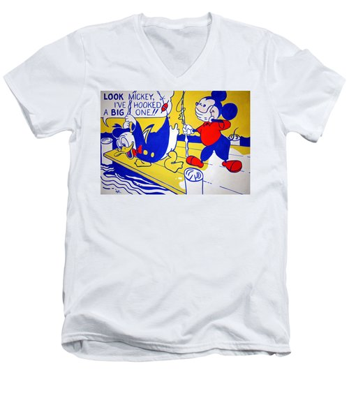 Lichtenstein's Look Mickey Men's V-Neck T-Shirt by Cora Wandel