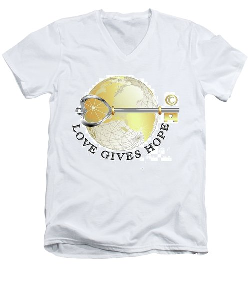 Men's V-Neck T-Shirt featuring the digital art Love Gives Hope by Laurie L