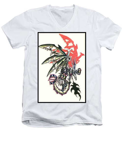 Men's V-Neck T-Shirt featuring the painting Mech Dragon Tattoo by Shawn Dall
