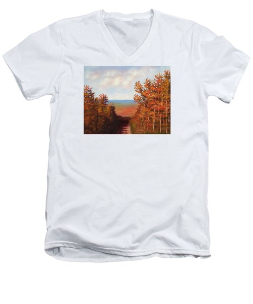 Men's V-Neck T-Shirt featuring the painting Mountain View by Jason Williamson