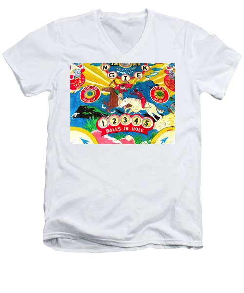Native Pinball Men's V-Neck T-Shirt by Beth Saffer