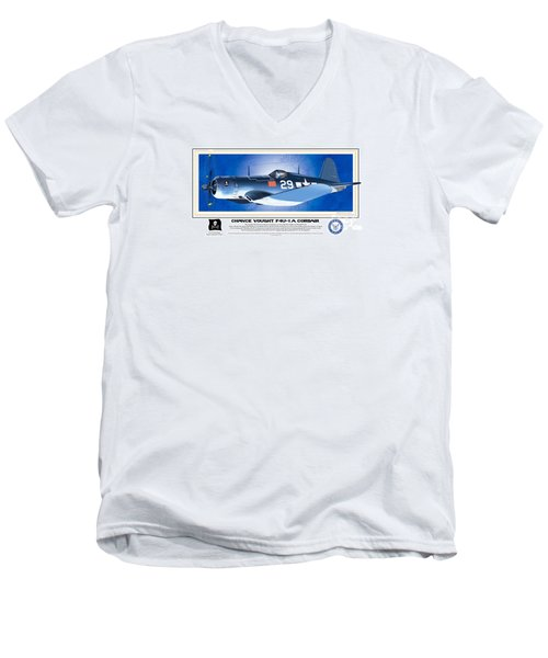 Men's V-Neck T-Shirt featuring the drawing Navy Corsair 29 by Kenneth De Tore