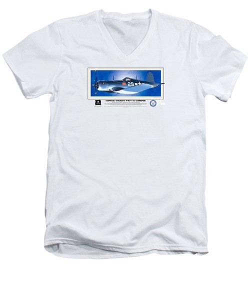 Navy Corsair 29 Men's V-Neck T-Shirt by Kenneth De Tore