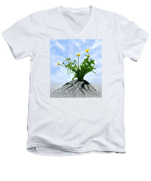 Men's V-Neck T-Shirt featuring the photograph Never Give Up by Dreamland Media