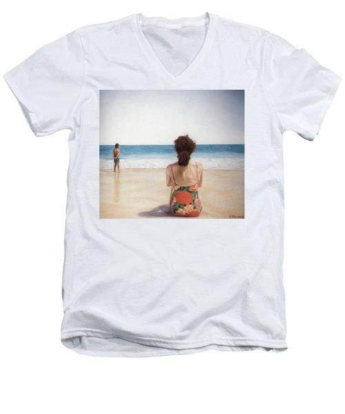 On The Beach Men's V-Neck T-Shirt by Rich Milo