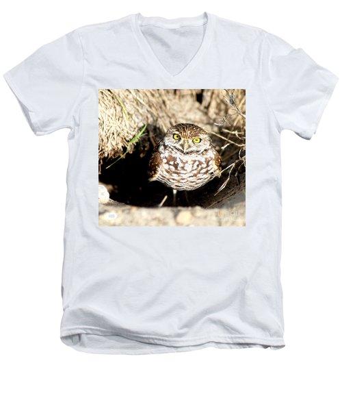 Men's V-Neck T-Shirt featuring the photograph Owl by Oksana Semenchenko