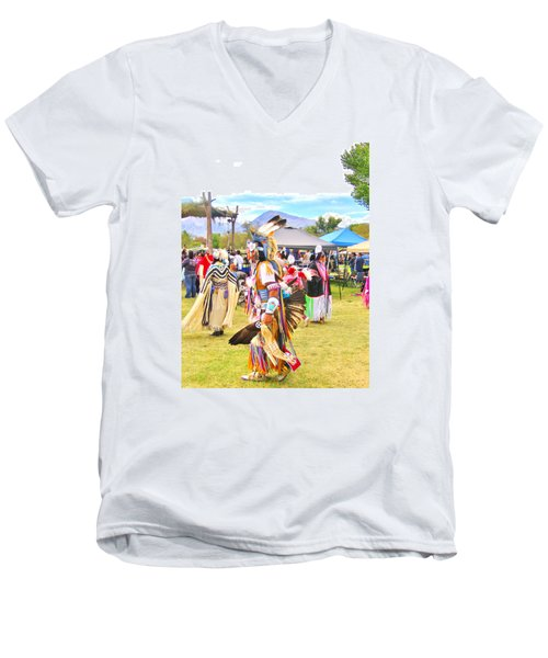 Men's V-Neck T-Shirt featuring the photograph Paiute Powwow by Marilyn Diaz