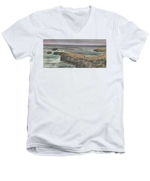 Men's V-Neck T-Shirt featuring the painting Pescadero Beach by Donald Maier