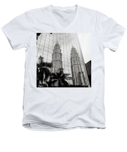 Petronas Towers Reflection Men's V-Neck T-Shirt