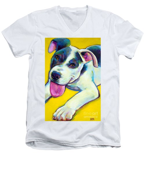 Men's V-Neck T-Shirt featuring the painting Pit Bull Puppy by Robert Phelps